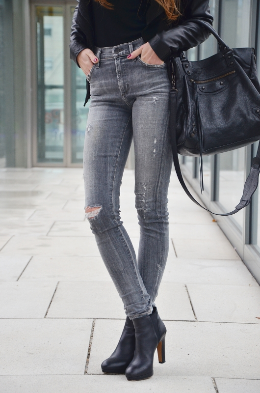 high waist jeans grey outfit