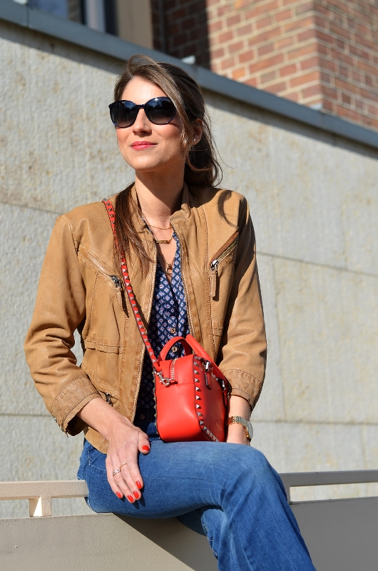 valentino bag red rockstud outfit