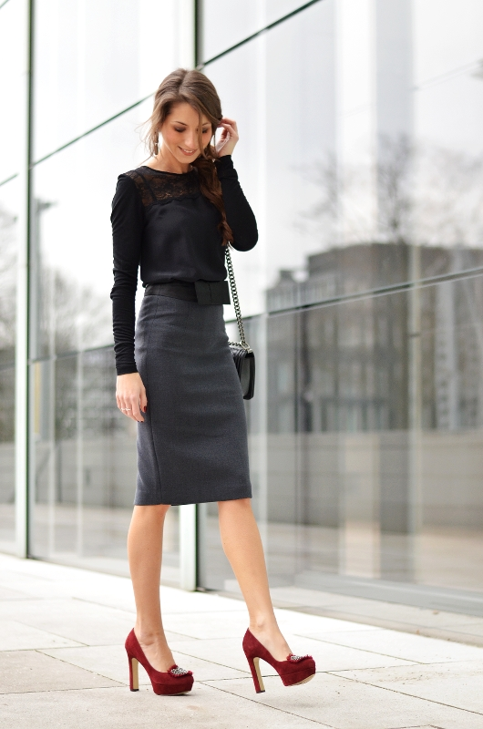 pencil skirt outfit lady like