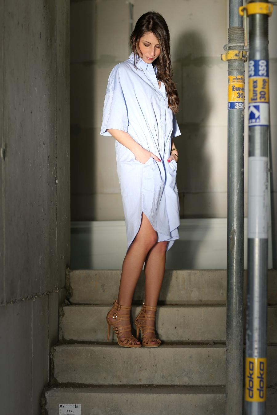 high heels hemd blusenkleid look