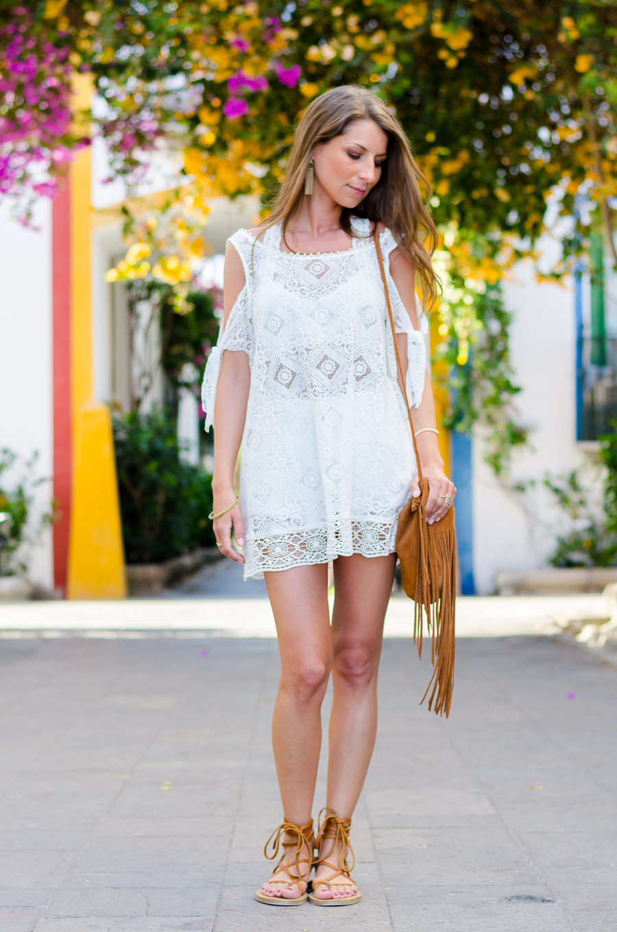 boho lace dress gladiator sandals and fringe bag romantic summer outfit