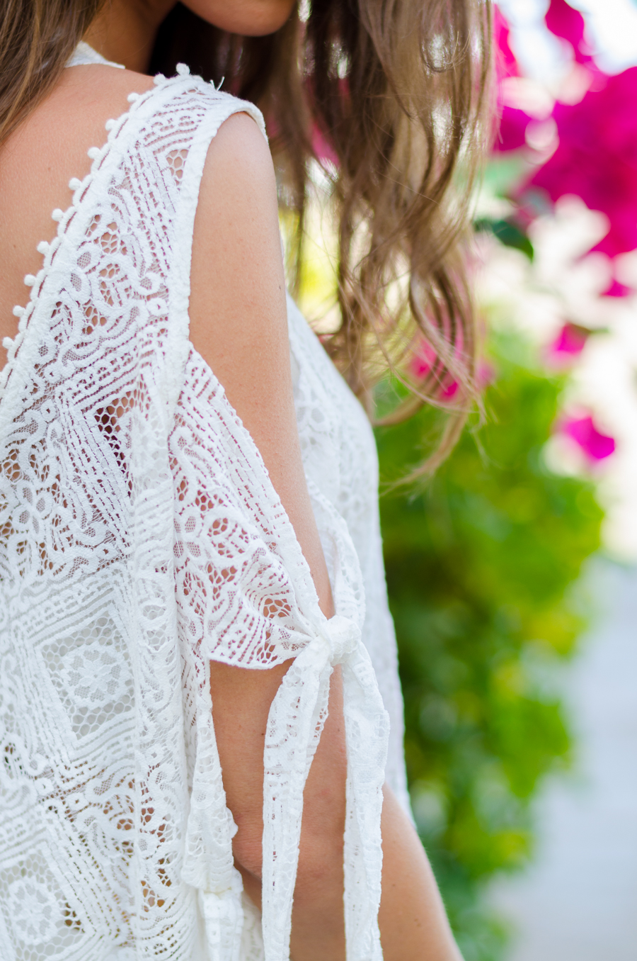 boho lace dress gladiator sandals and fringe bag romantic summer outfit