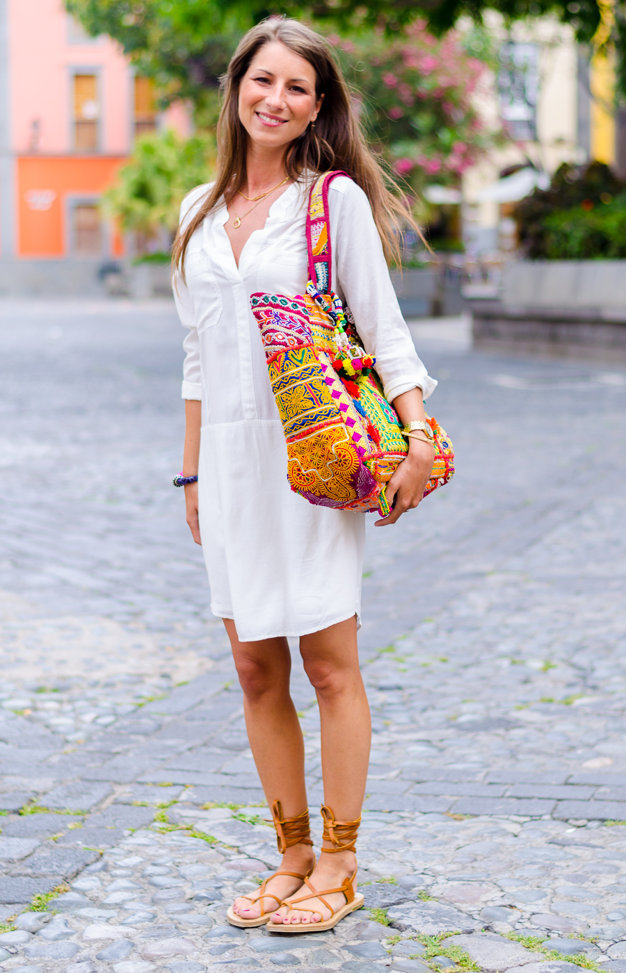 gladiator sandals & tunic dress