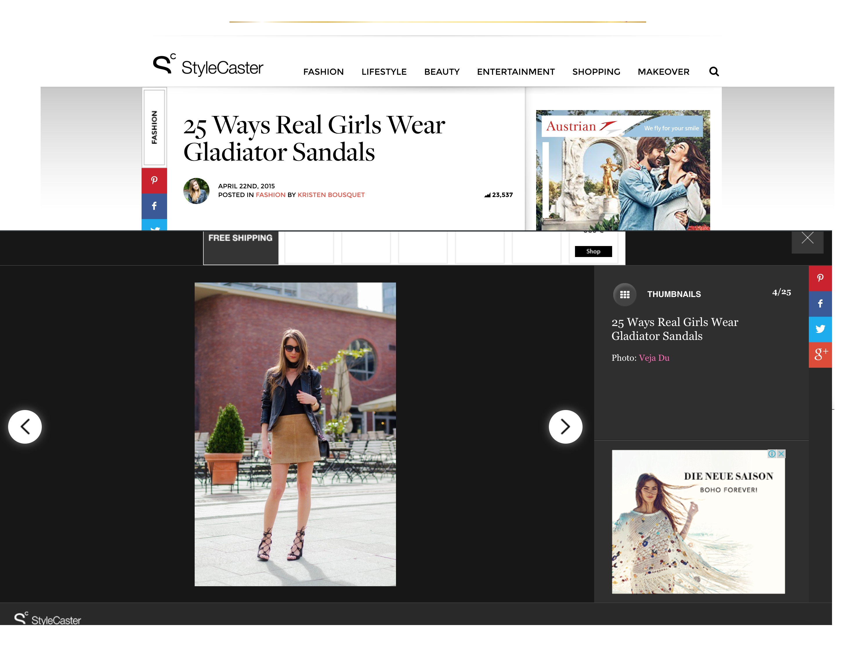 stylecaster how to wear gladiator sandals feature