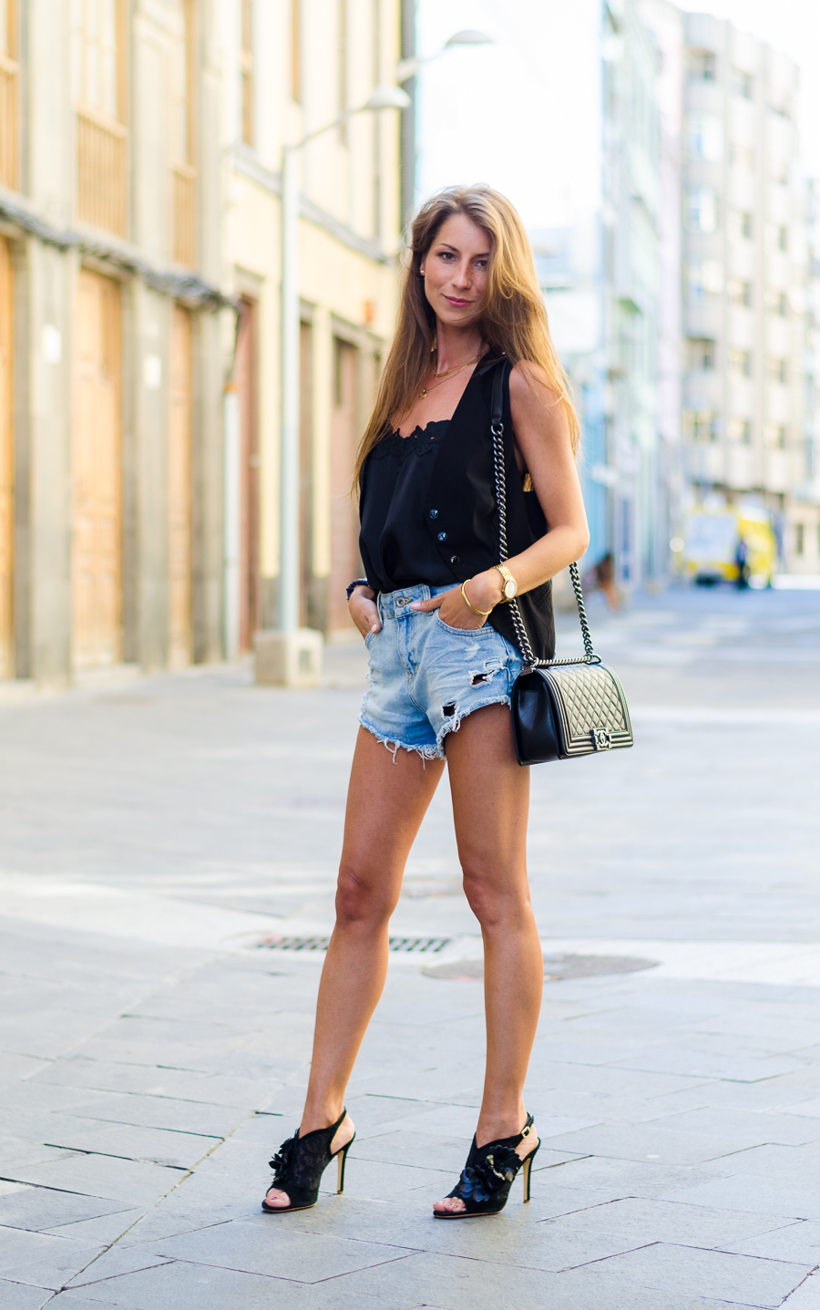 black vest lace jeans shorts chanel boy bag fashion style blog outfit
