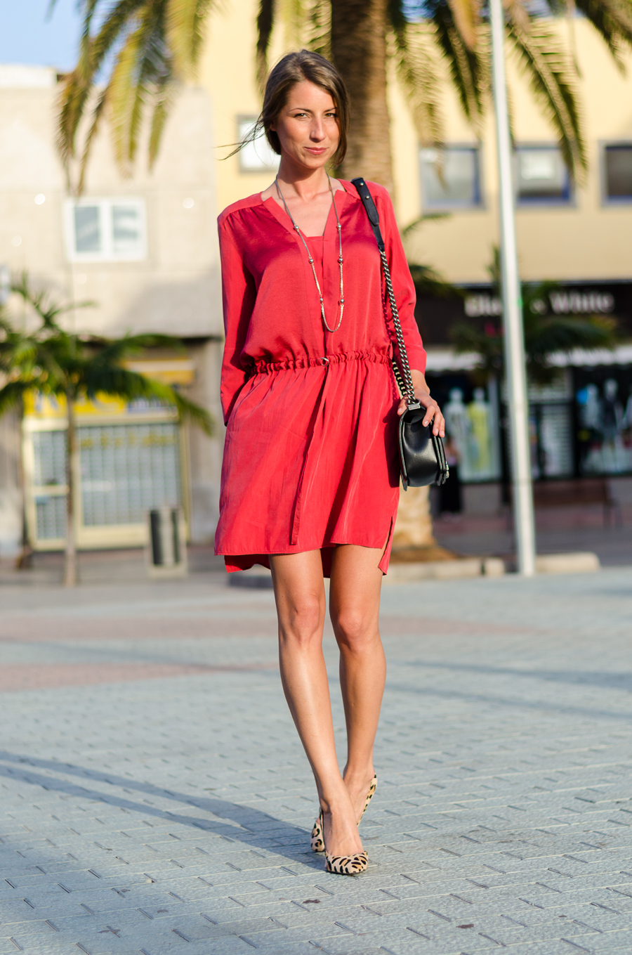 rotes tunika kleid leopard pumps outfit style blogger