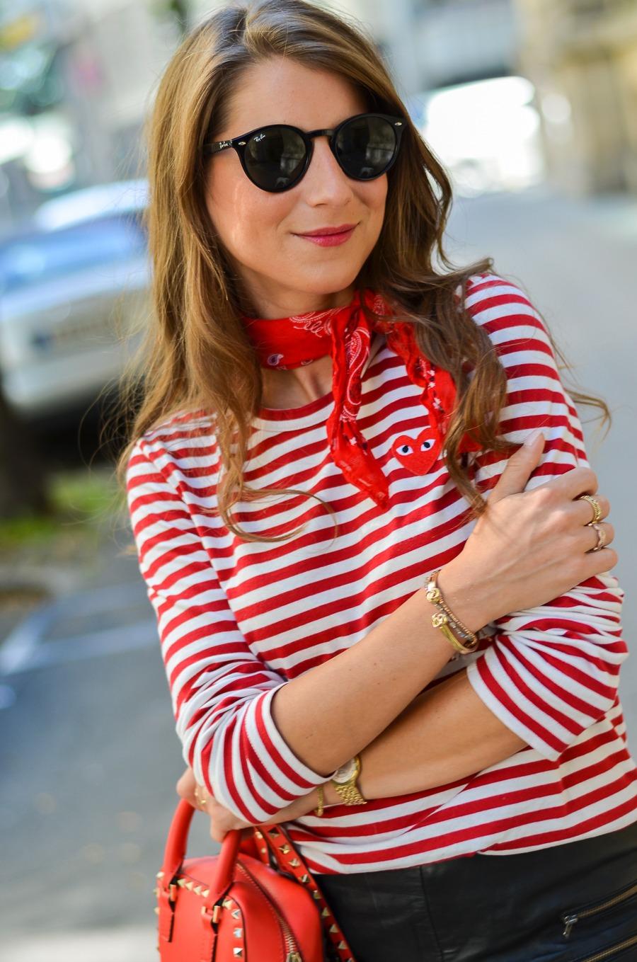 comme des garcons striped shirt longsleeve & bandana outfit