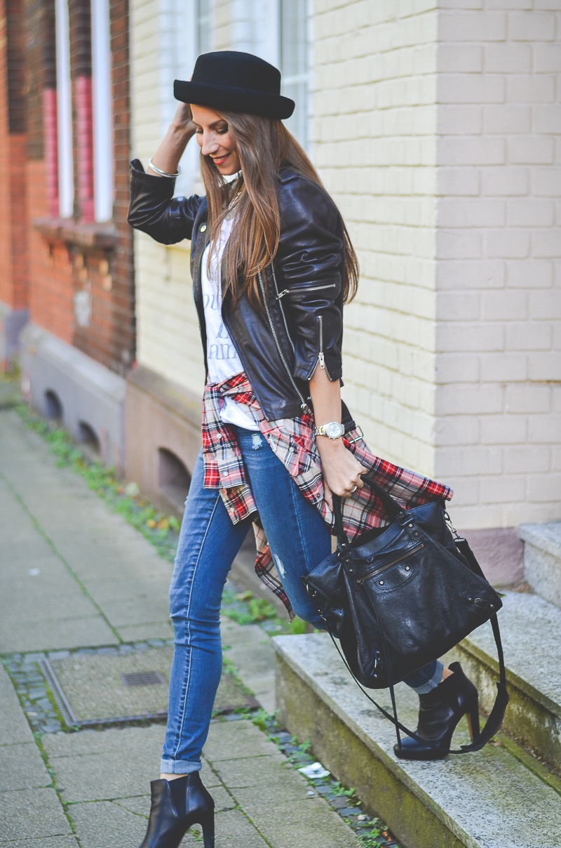 otto casual outfit lederjacke jeans boots hut shirt