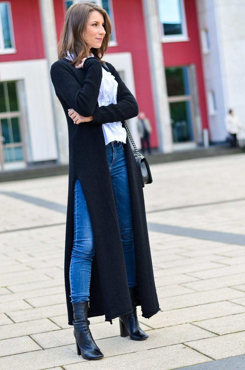 Outfit langer schwarzer Maxi Cardigan von Stefanel 2