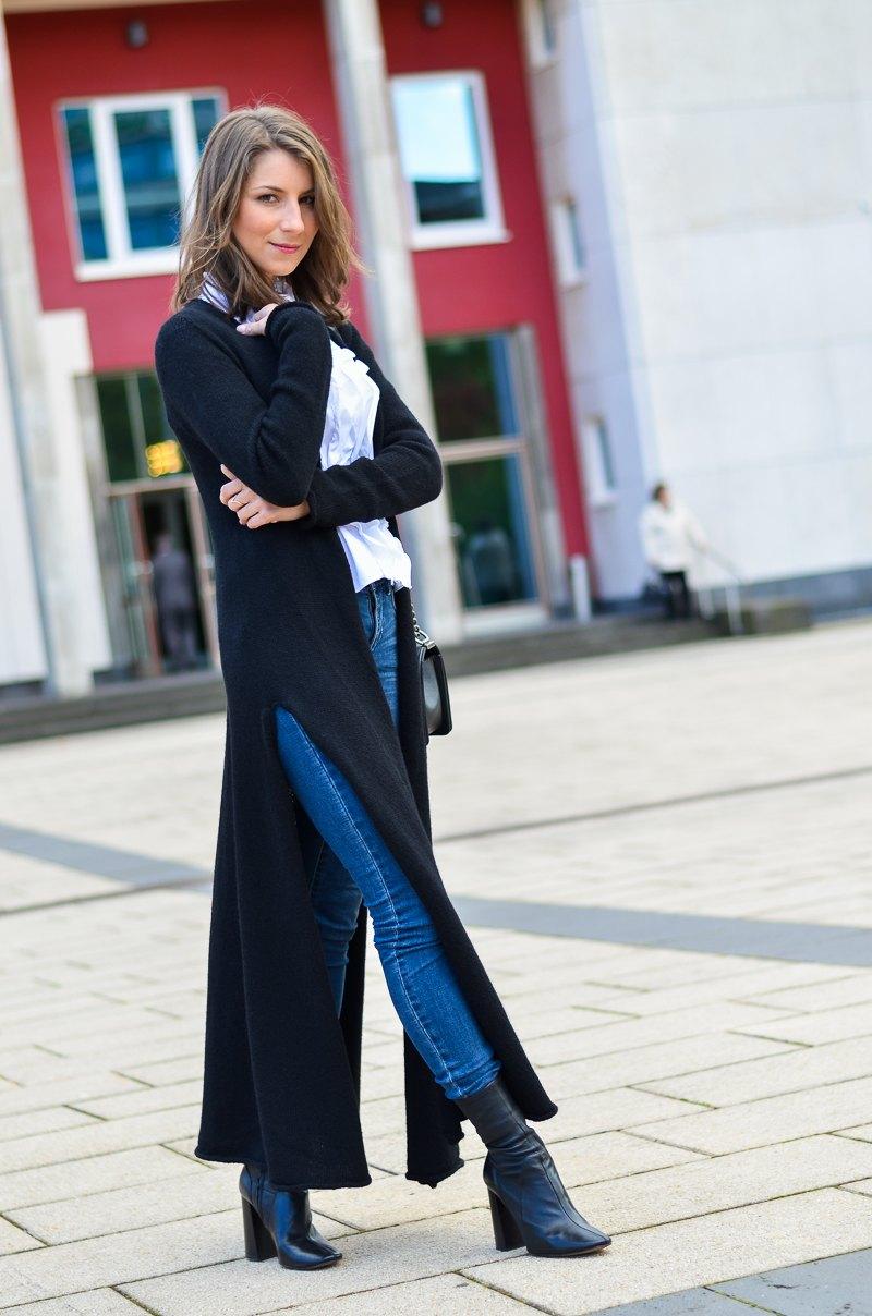 Outfit langer schwarzer Maxi Cardigan von Stefanel 1