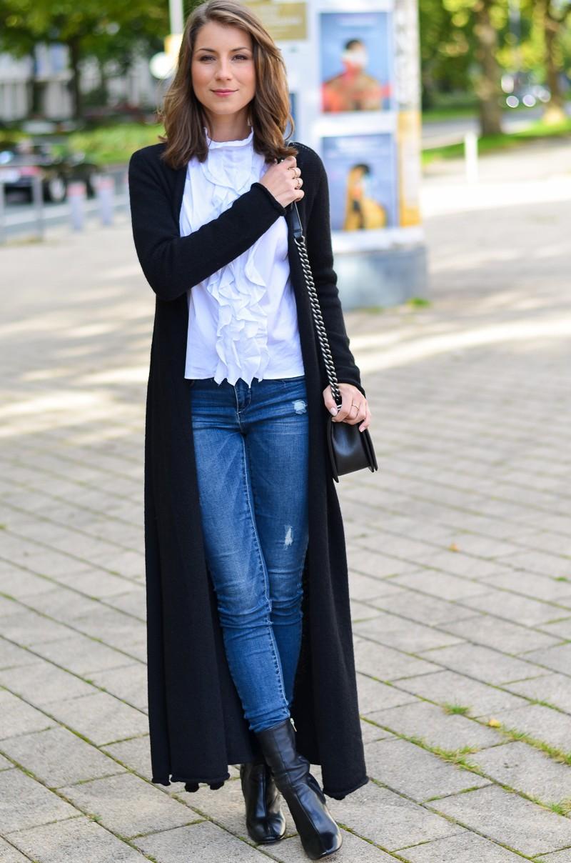 Outfit langer schwarzer Maxi Cardigan von Stefanel 12