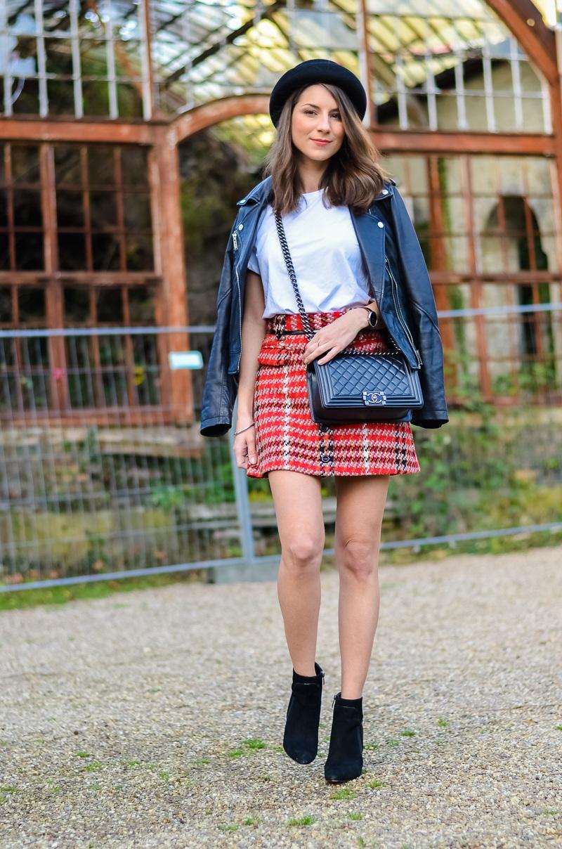 Outfit , Topshop , karierter Rock , Lederjacke , Shirt , Ankle Boots 4