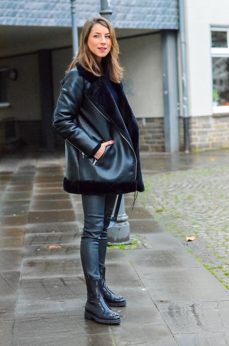 outfit shearling jacke meine bling bling combat boots v j du modeblog aus deutschland. Black Bedroom Furniture Sets. Home Design Ideas