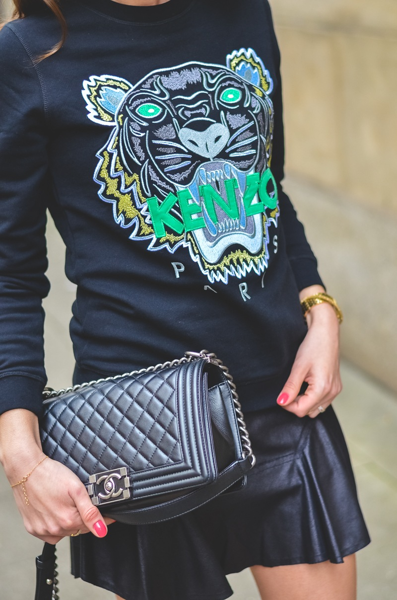 kenzo sweater chanel boy bag outfit