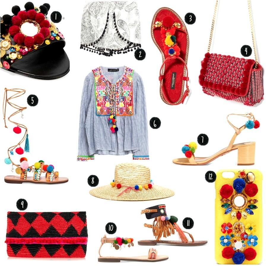Pompons, Sandalen, Tasche, Hut, Clutch, iPhone, Zara, Inspiration, Shopping, bommel, sommer, trend, 2016