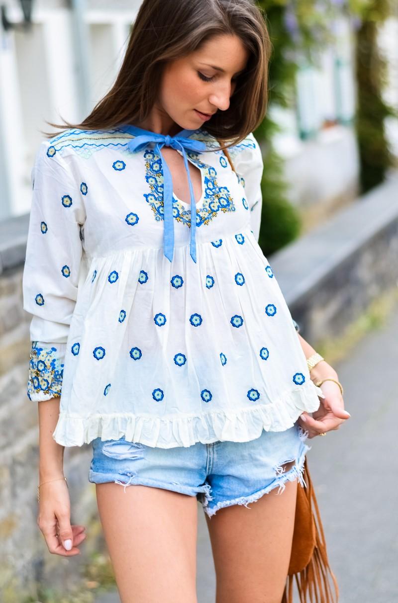 Outfit , Manoush, Tunika , Bluse , Jeans , Shorts , kombinieren , Fransentasche 3