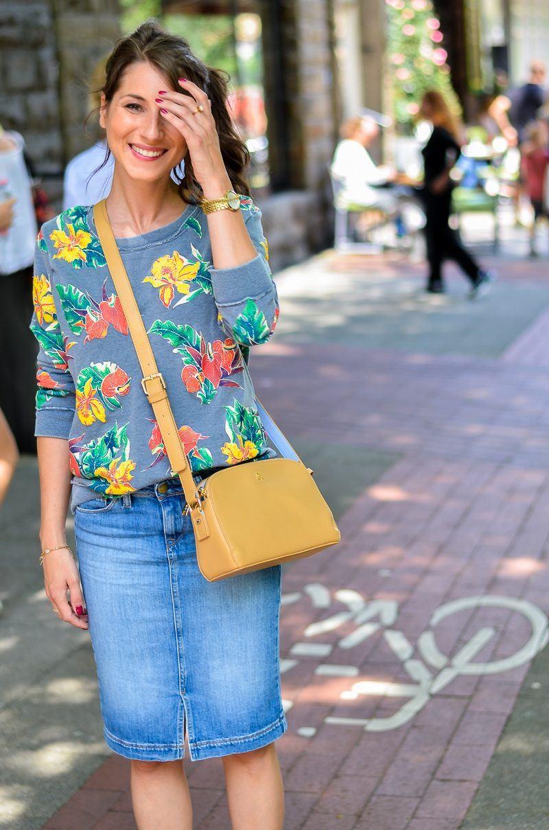 Fashion Blog Jeansrock Midi Sweatshirt Wedges Kombinieren11 V J Du