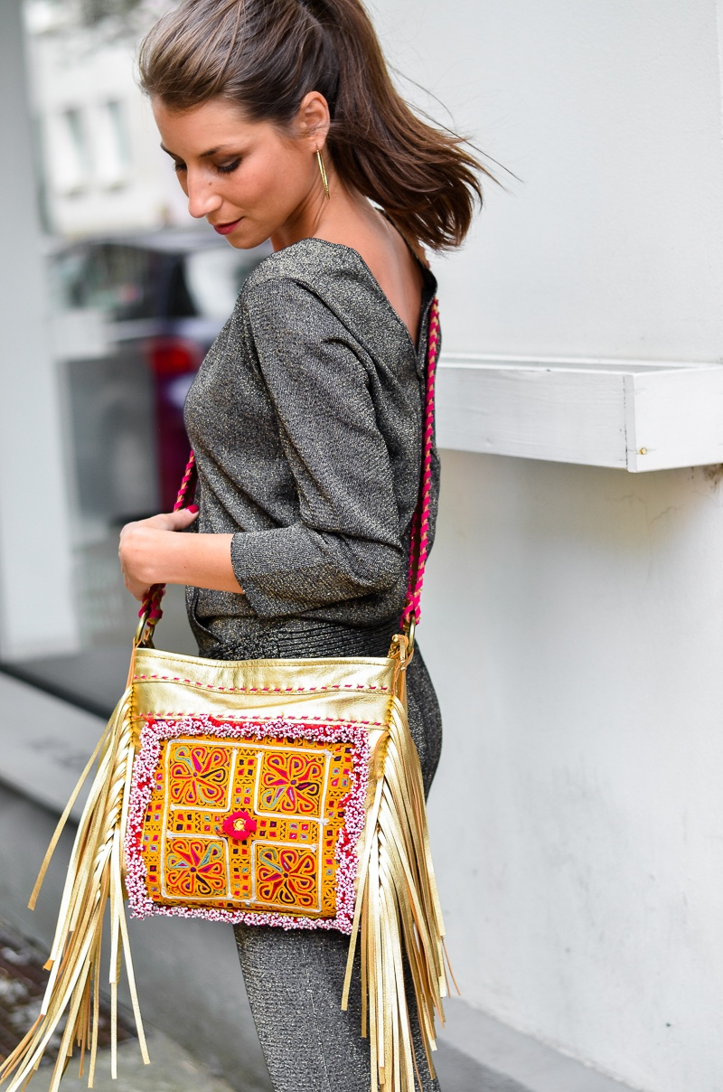 casual , look , outfit , overall , jumpsuit , golden , boho , fringe , bag, fransentasche , 1
