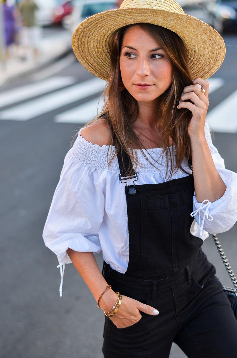 latzhose off shoulder top boater hat outfit