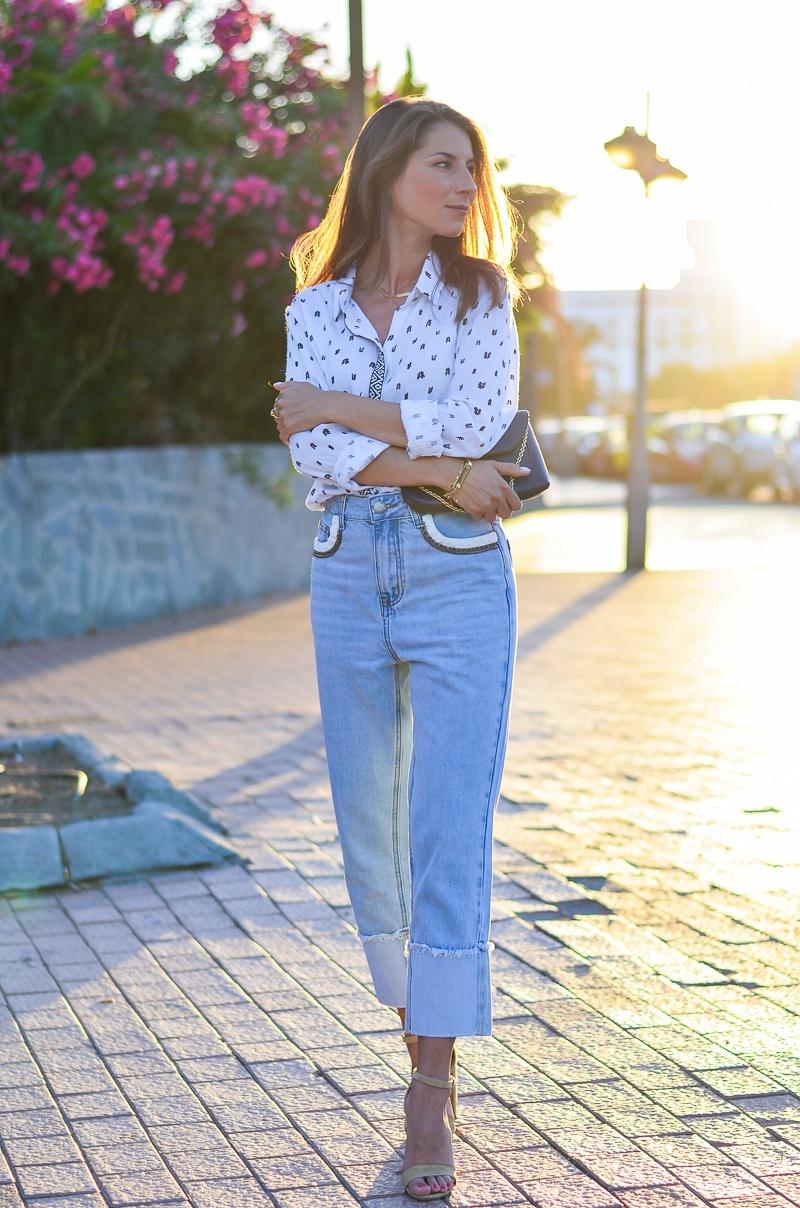 suncoo paris bluse mom jeans