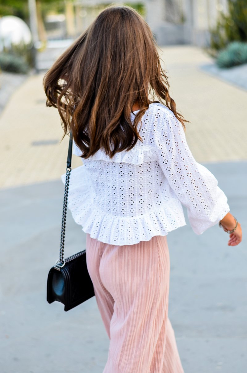 zara plissee cullottes outfit
