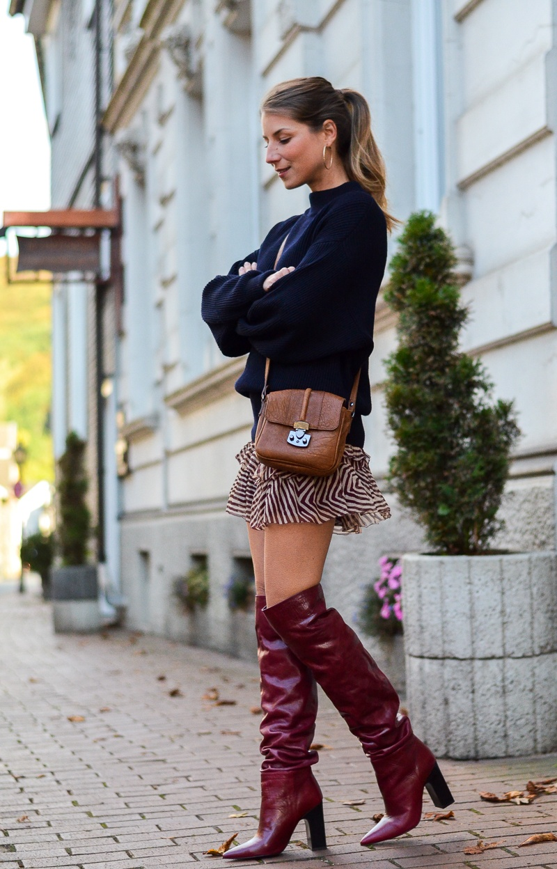 Oversized pullover, red boots & Isabel Marant skirt