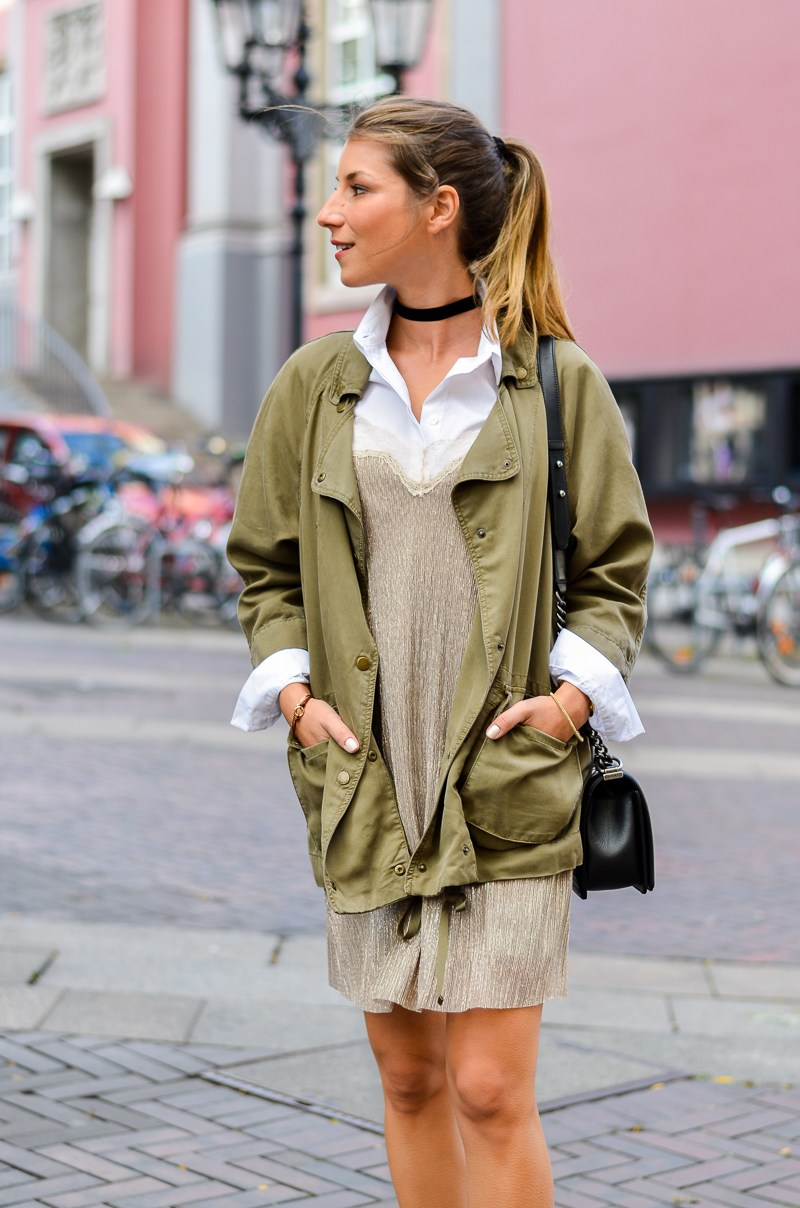 slip dress zara combat boots bluse outfit
