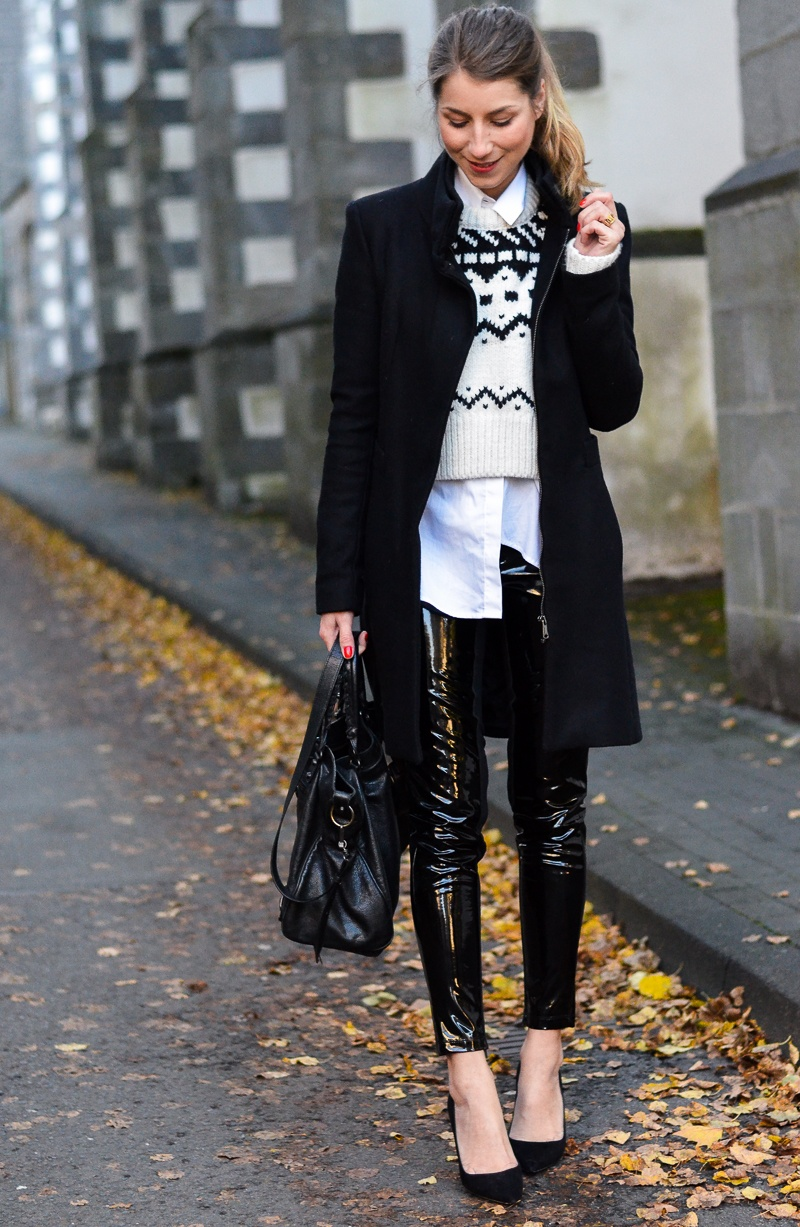 lack hose zara mantel pullover outfit