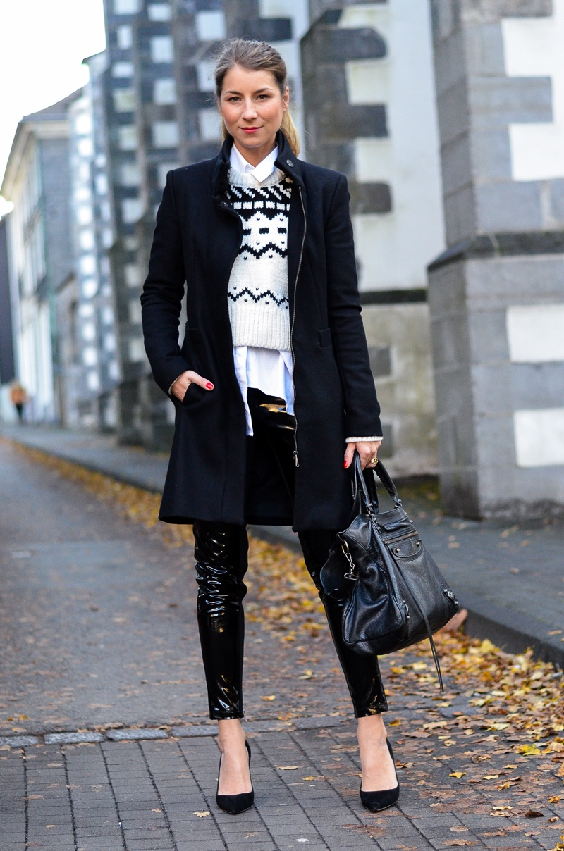 lack hose zara mantel pullover outfit pumps