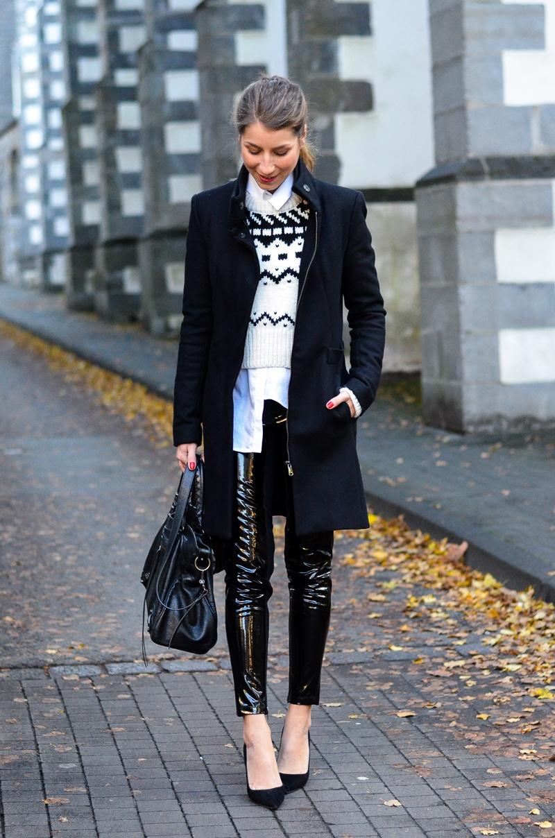 Black & White :: Hose in Lack Optik & mein neuer Pullover von Zara