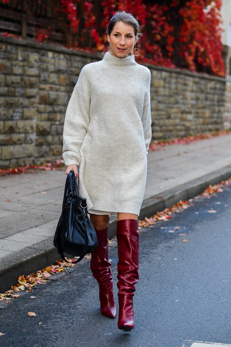 Red Autumn :: Zara Strickkleid & rote Boots