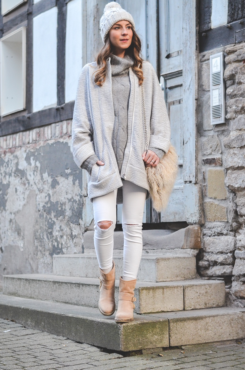 winter outfit cosy beanie boots
