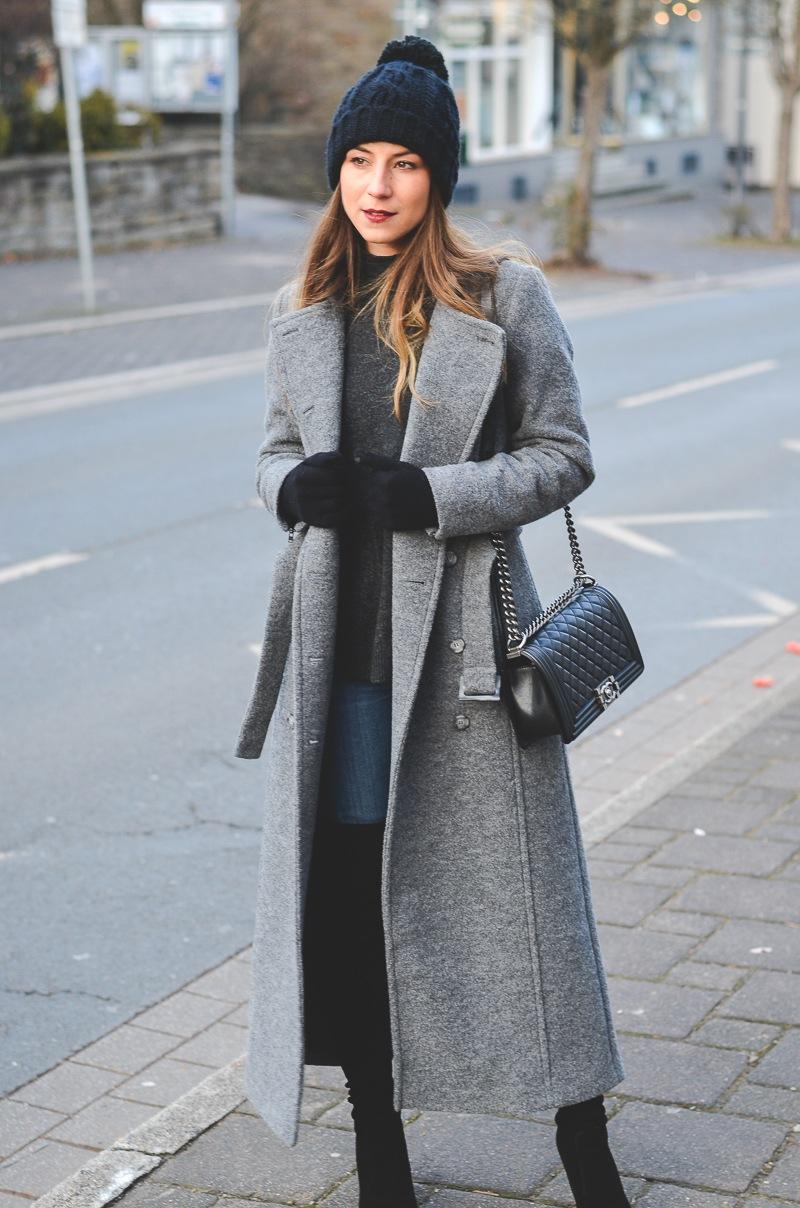 outfit maxi coat stefanel overknees winter
