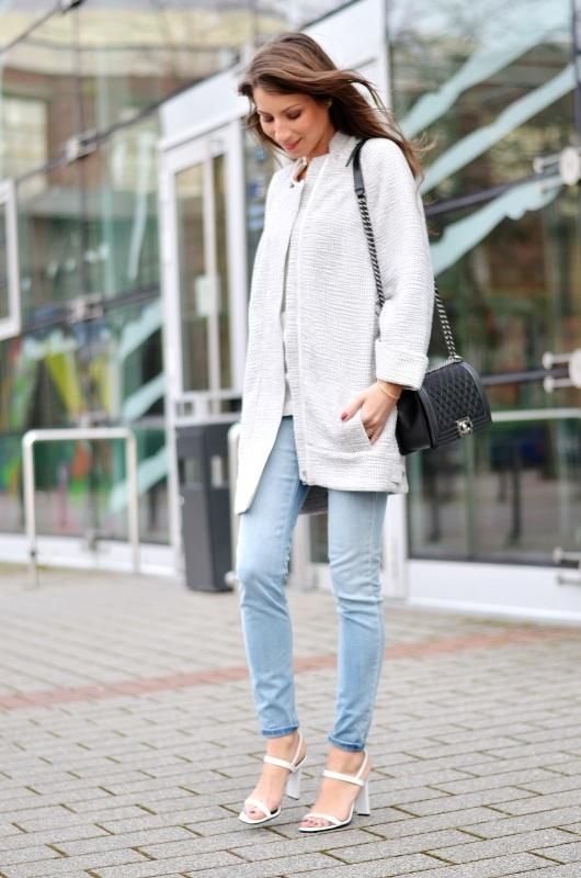 coat egg shape jeans sandals outfit