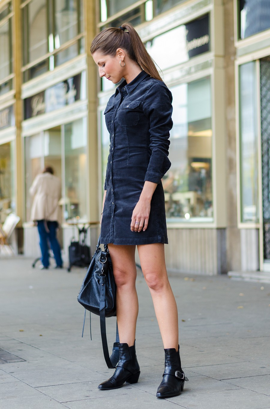 Outfit: Cord Dress & Ankle Boots