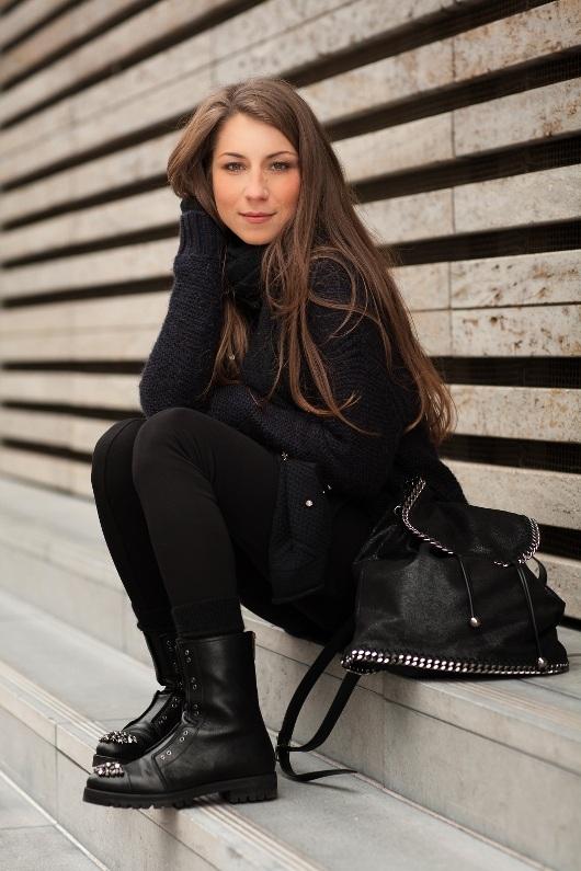 cosy winter styles turtleneck sweater knit leggings stella mccartney falabella backpack