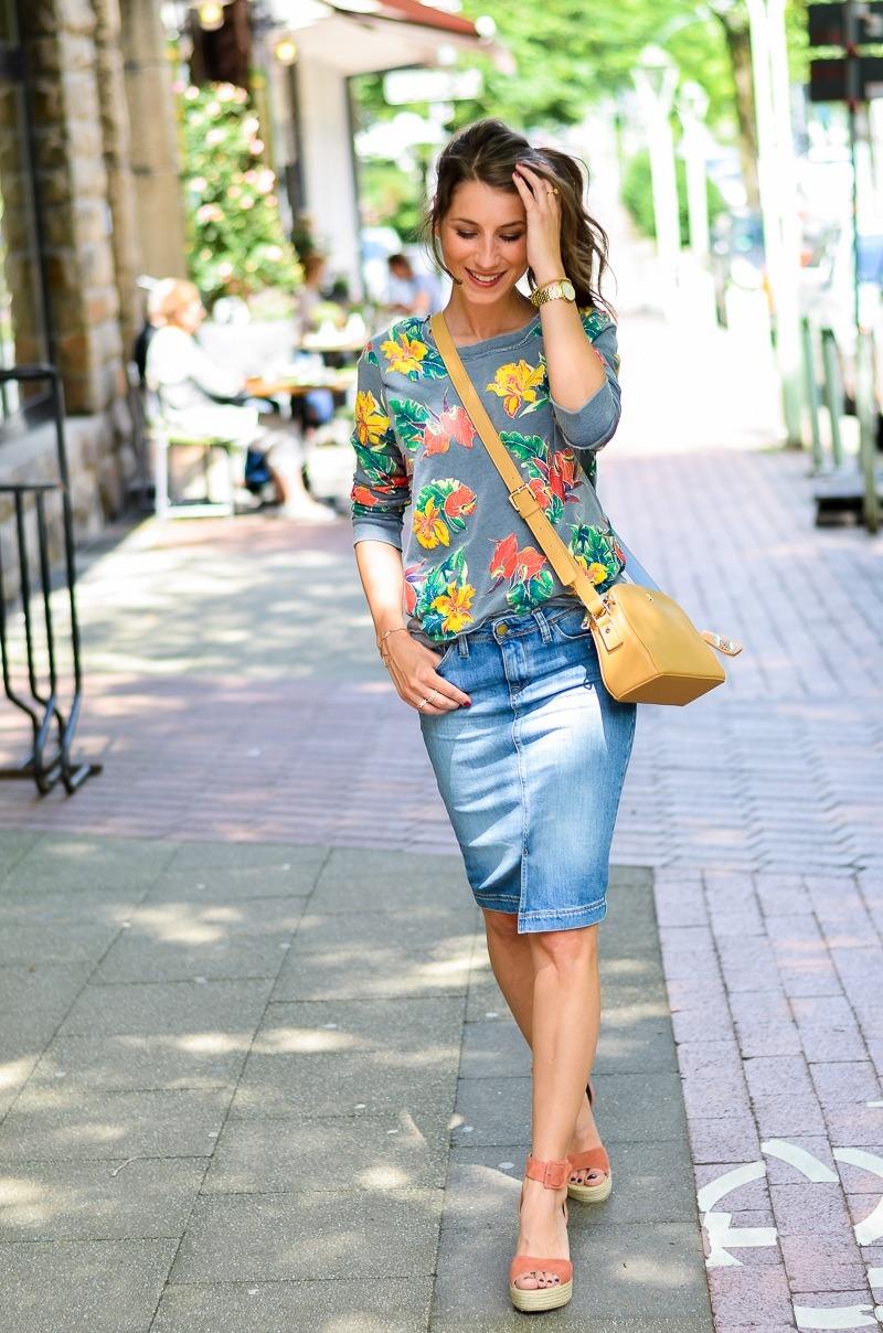 denim skirt midi sweatshirt wedges outfit fashion blog street style