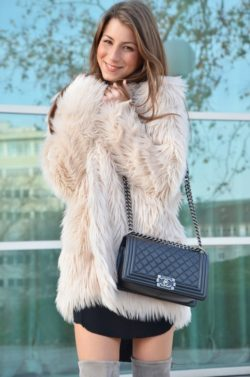 fake fur jacket chanel boy bag over the knee boots outfit