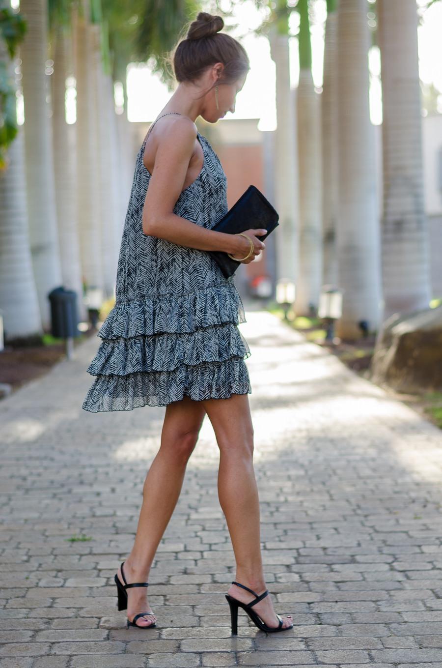 frilled dress sandals clutch elegant summer dinner outfit fashion blog