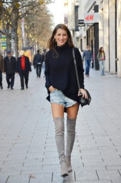 over the knee boots grey stuart weitzman denim shorts turtleneck fashion blog highstreet