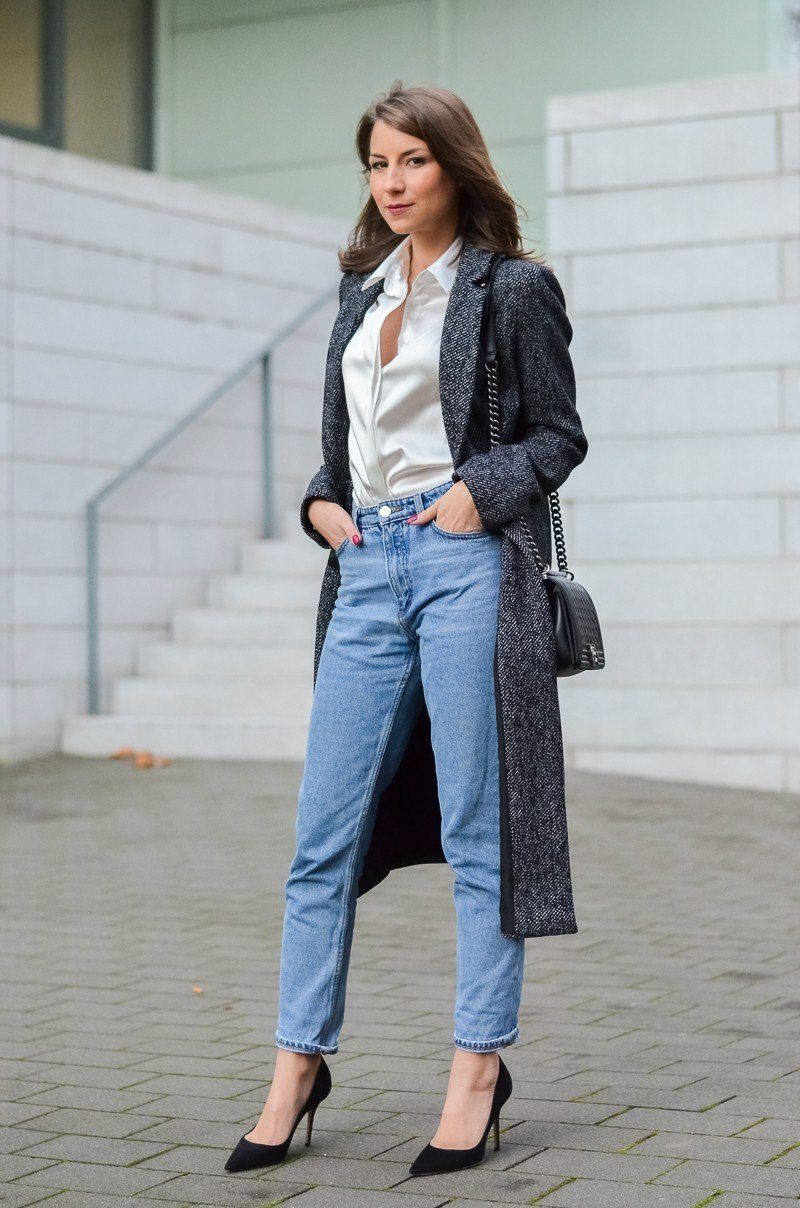 mom jeans silk blouse maxi coat chanel bag outfit