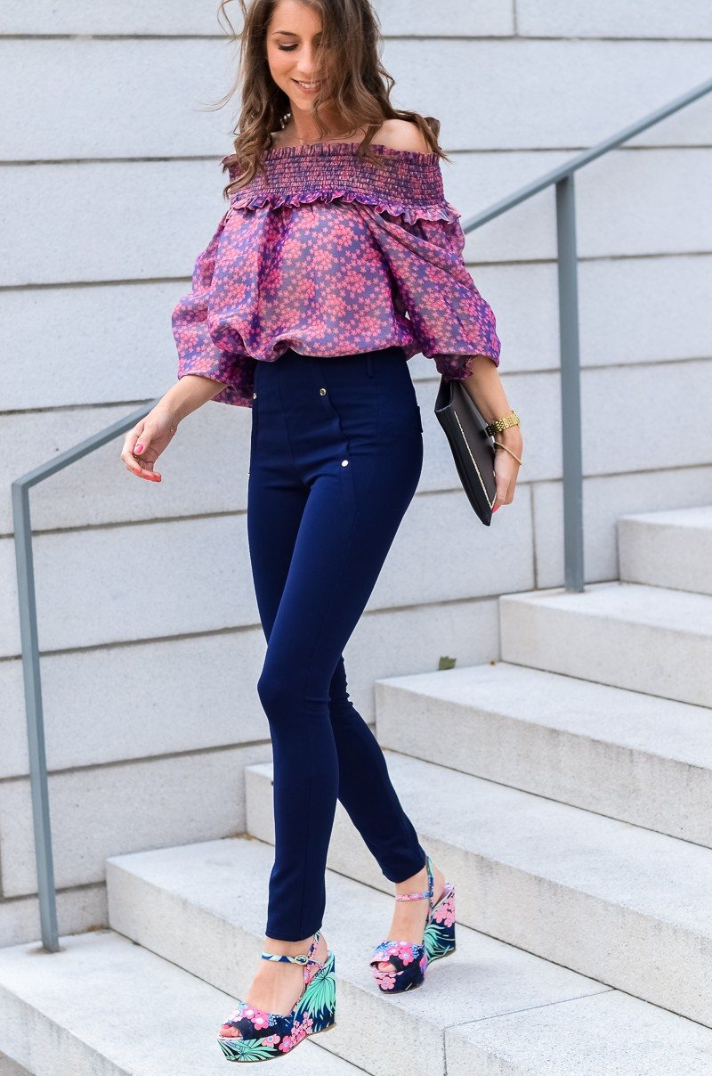 off shoulder blouse high waist pants manoush chic summer outfit fashionblogger