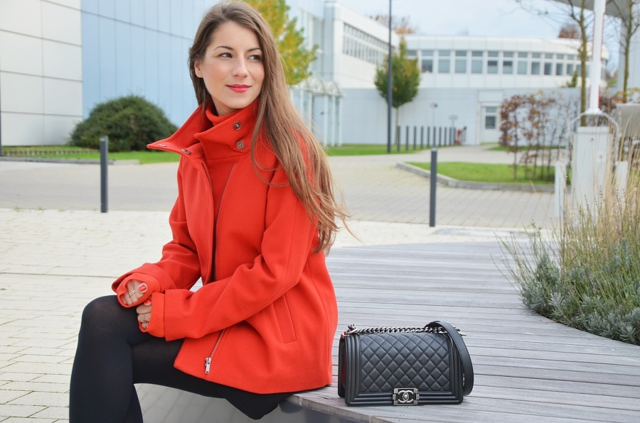red coat and turtleneck pullover leggings and chanel boy bag outfit