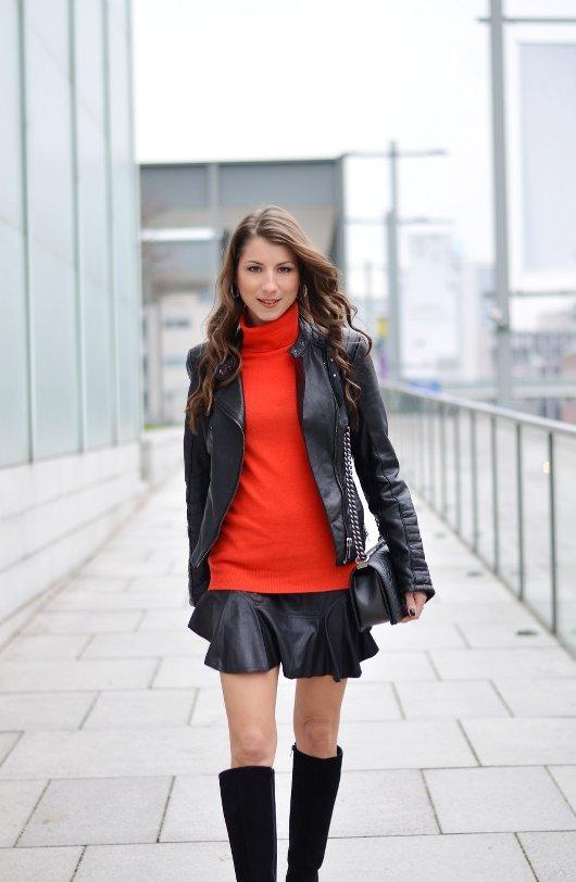 red turtleneck sweatshirt black mini skirt boots outfit blogger
