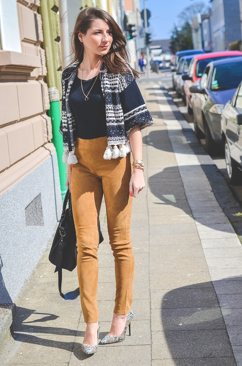 suede pants leather brown ethno cardigan spring outfit