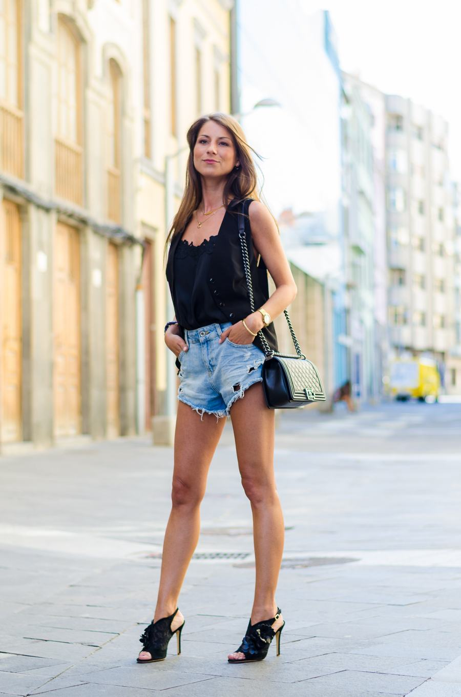 Outfit :: Black lace vest & ripped denim shorts