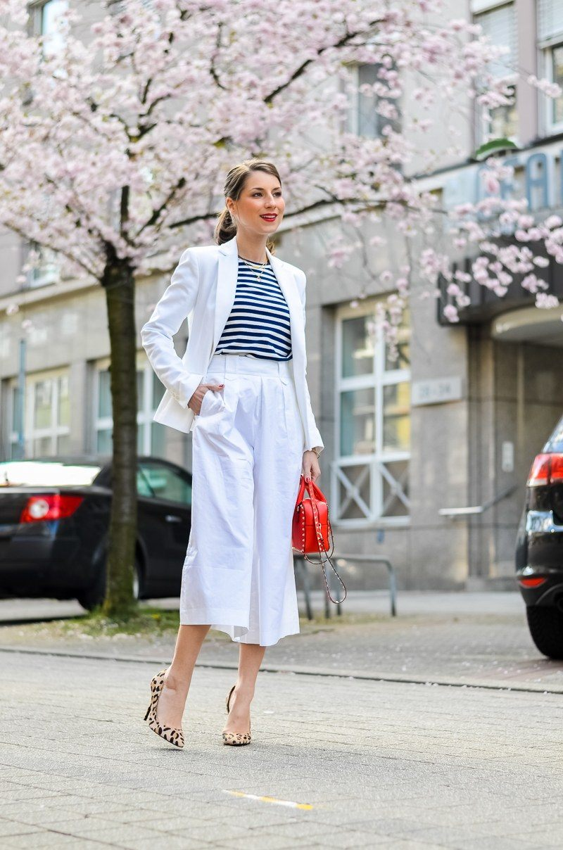 white culotte striped shirt comme des garcons play red bag street style leopard print pumps spring outfit