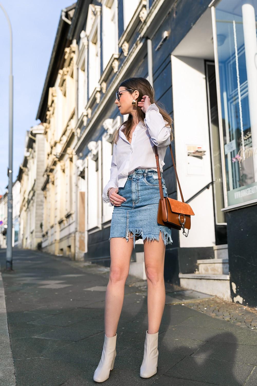 It's spring! Zara denim skirt & a backless shirt