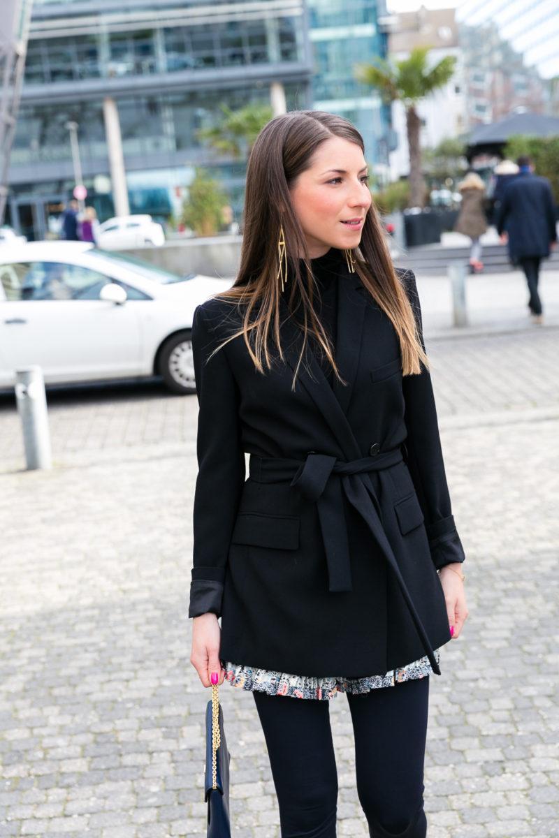 outfit leggings rock skirt blazer turtleneck salvatore ferragamo mode blog düsseldorf medienhafen