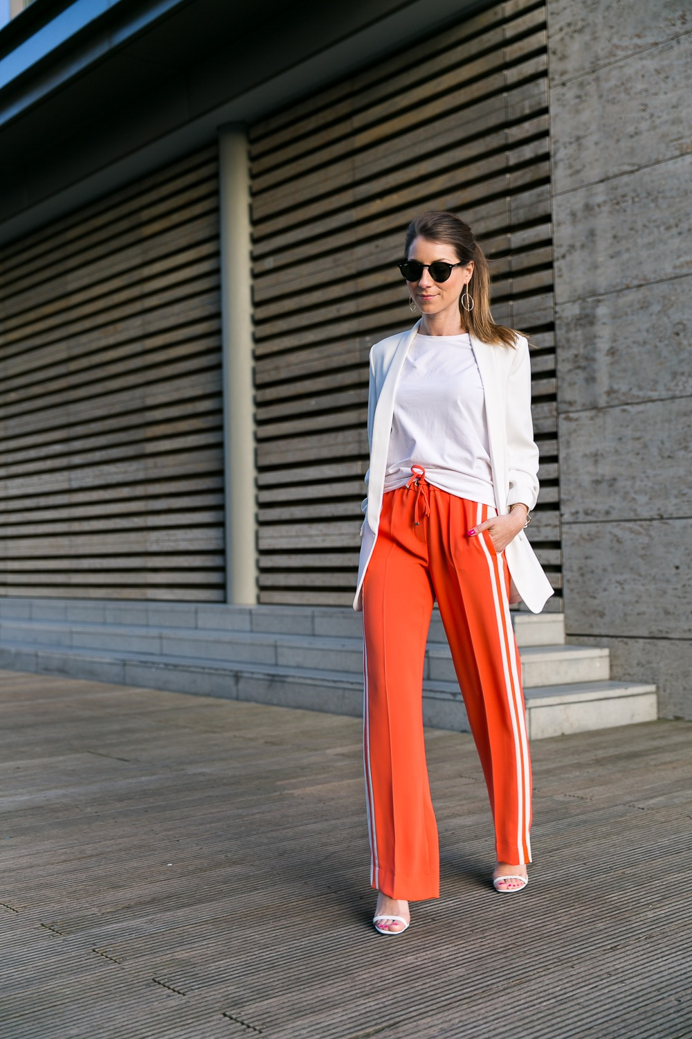 Orange & White :: Track Pants & Blazer